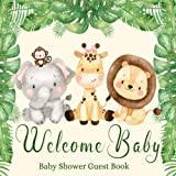 Baby Shower Guest Book Welcome Baby: Safari Cute Animals Sign-in Guestbook Keepsake with Name, Address, Baby Predictions, Advice for Parents, Wishes for Baby, Gift Tracker Log + Photo Book
