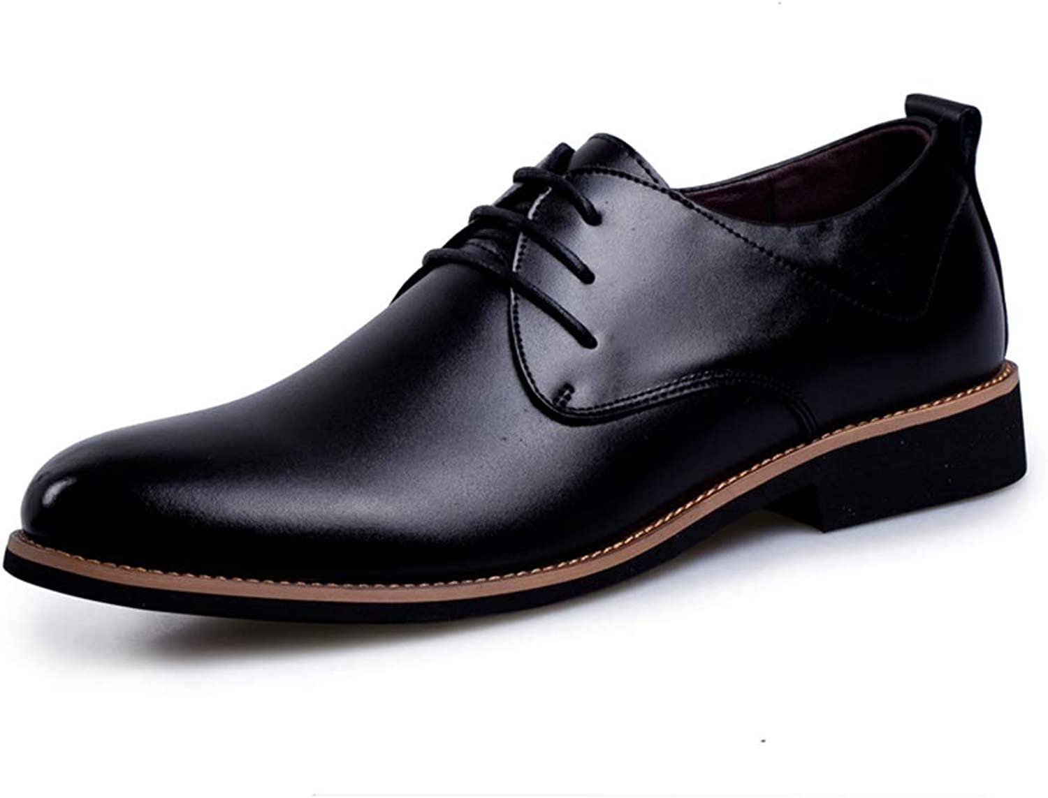 Oxford Compatible Men Low Stacked Heel Lace Up Genuine Leather Business Formal Wedding shoes (color   Black, Size   7 UK)