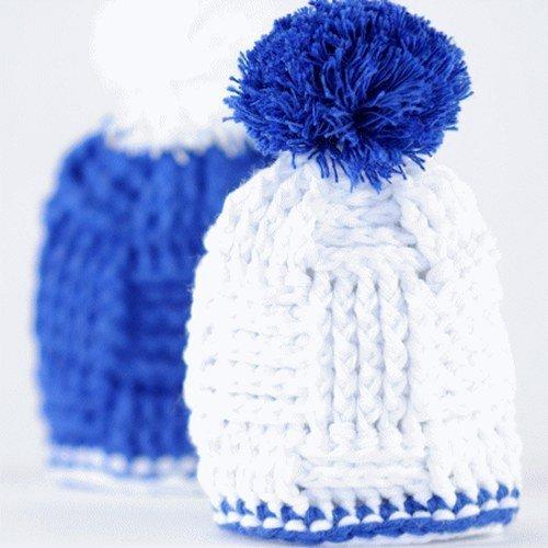 Eier Mützchen Blau/Weiß - 2er Set Eierwärmer für Fußballfans - Baumwolle, Geschenkidee