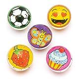 Baker Ross- Pelotas de goma saltarinas originales (Pack de 8) Bolas de goma para niños con diseños originales para bolsas sorpresa en fiestas o para jugar en el recreo