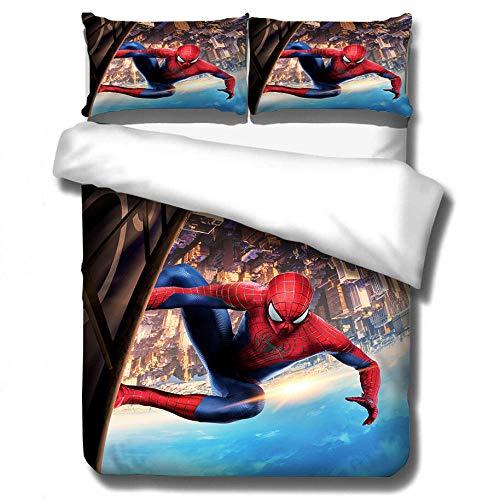 YMYGYR Literie à Motif de Super-héros d'impression 3D, Housse de Couette et taie d'oreiller araignée, Ensemble Textile pour la Maison comme Meilleur Cadeau pour Les Amis-F_228x228 cm (3 pièces)