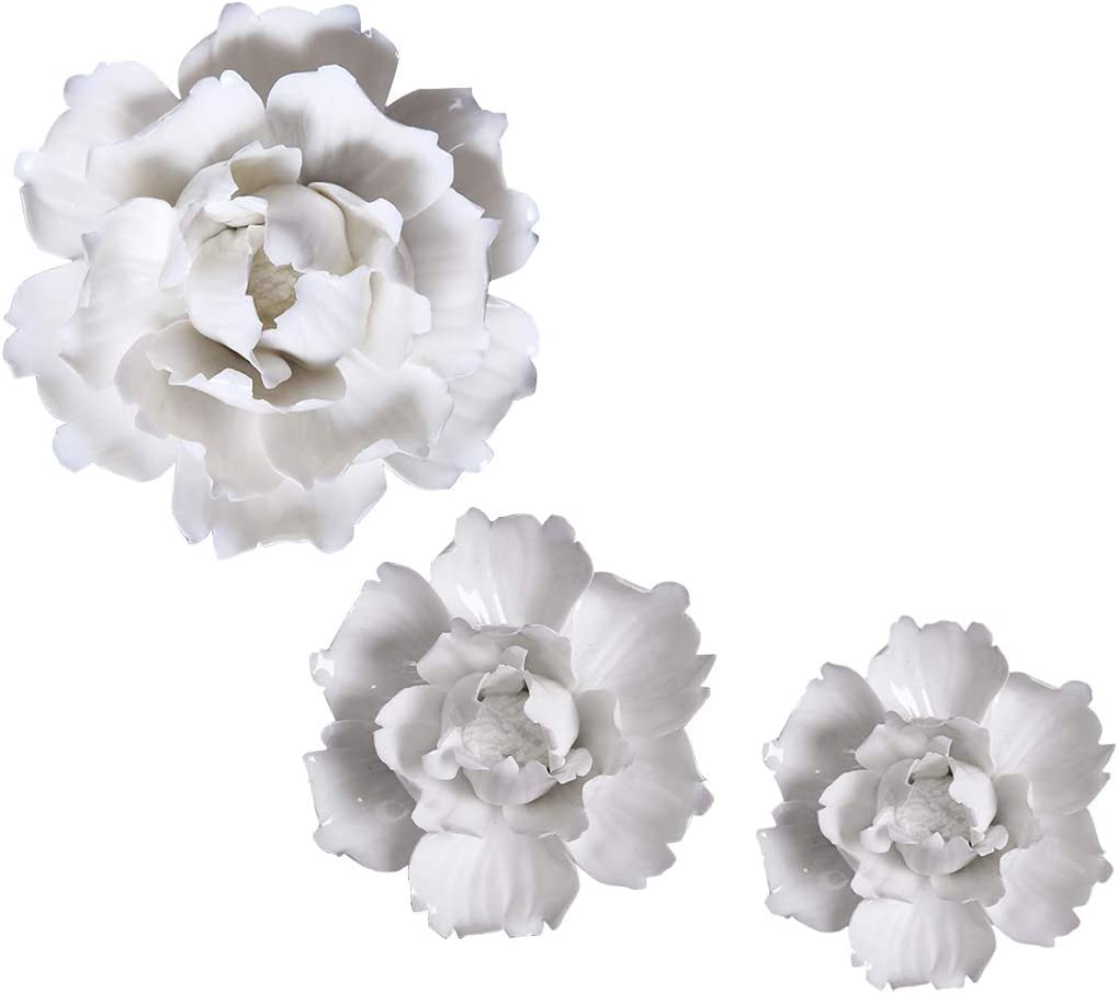 Deluxe Max 80% OFF MMEXPER Ceramic Flower Wall Art Decoration Hangi Sculpture Peony