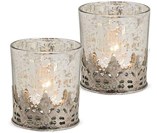 matches21 Windlichter Teelichtgläser Kerzengläser mit Metall orientalisches Muster Silber antik 2er Set - Ø 7x8 cm