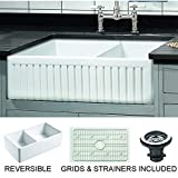 Empire Industries SP33DG Sutton Place Farmhouse Fireclay with Grid and Strainer Kitchen Sink, 33', White