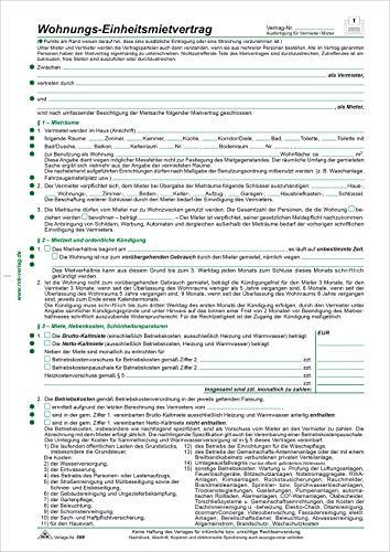 RNK 599/10 - Wohnungs- Einheitsmietvertrag, 4 Seiten, DIN A4, 10 Verträge