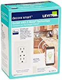 Leviton DZR15-1RZ Decora Z-Wave Controls 15-Amp Tamper Resistant Split Duplex Receptacle, White/Ivory/Light Almond