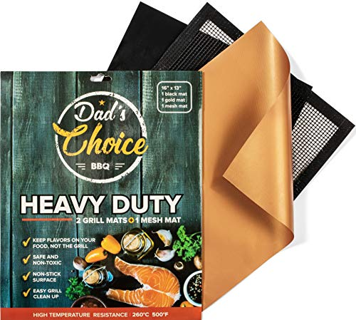 Dad's Choice BBQ – 2 Grill Mats, 1 Mesh Mat – Heavy Duty Non Stick Reusable for Dads Gifts