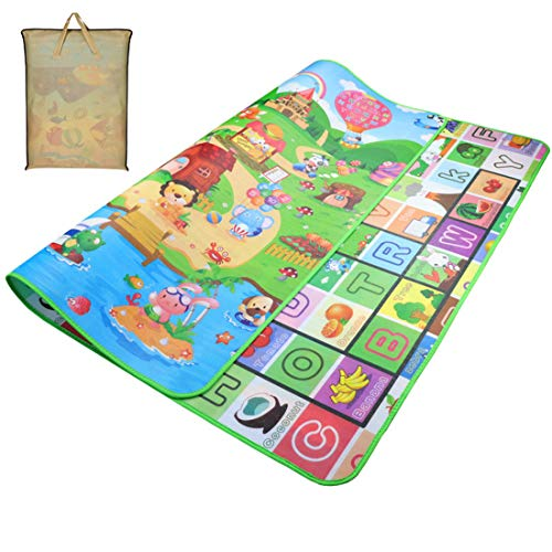Gutsbox Baby Kinderteppich Spielteppich Spielmatte Kinder Puzzlematte Baby-kriechende Auflage Crawl Junge Kinderzimmer Spielmatte kinderzimmerteppich Picknickdecke (Burg, 180 x 200 cm)