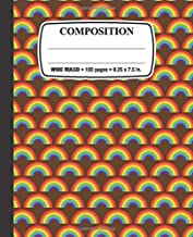 Composition Notebook: 80s Rainbow: Wide Ruled • 100 Pages • 9.25 x 7.5 in. for School Office Home Student Teacher Use