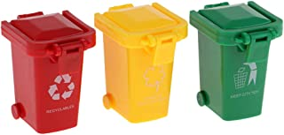 Flameer 3 Pieces Kids Toys Push Vehicles Garbage Can Rubbish Bin Model Mini Trucks Trash Cans