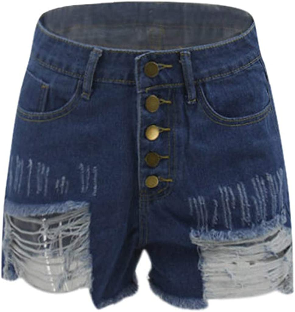 Tantisy ◢ Denim Hot Shorts for Women Casual Summer High Waisted Short Pants with Pockets and Exposed Buttons