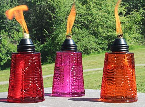 Seraphic 16oz Glass Tabletop Torches, Set of 3 (Red/Purple/Orange)