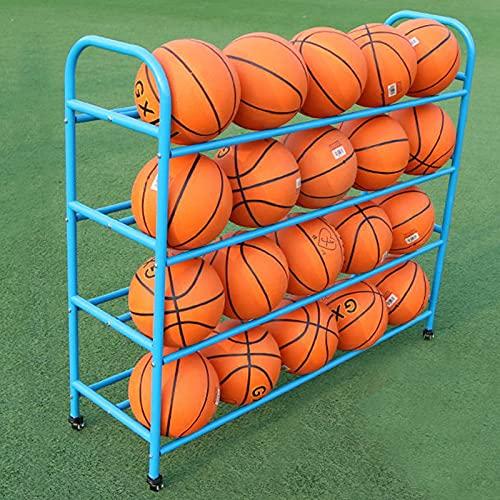 LXFA Estante de Pelota Carro de Almacenamiento de Bolas de Doble Cara con Ruedas, Organizador de Equipo de Baloncesto Azul para el Jardín de Infantes de la Escuela, Estante de Exhibición de Deportes