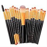 LLHJ - Juego de 20 brochas de maquillaje para cejas, polvos, base, corrector, polvos, colorete, brochas de maquillaje, color gris