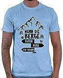 Hariz - Camiseta para hombre, diseño con texto en alemán 'Wenn Die Berge Rufen Muss Ich Gehen Berg' azul cielo M