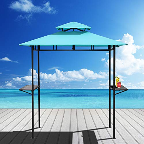 VALITA Outdoor BBQ Grill Gazebo Patio Double Tiered Canopy Tent and Steel Frame with Two Bar Counters, Turquoise