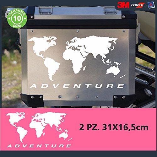 2 Adesivi Stickers Planisfero || COLORE: BIANCO || ADATTI PER VALIGIE MOTO - R 1200 1150 1100 gs valigie adventure R GS adv