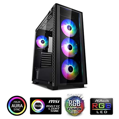DeepCool Matrexx 50 Black Case ATX USB 3.0 PC Gaming 0.6 mm SPCC mit 4 Lüfter 120mm PWM RGB Rainbow Addressable 5V ADD Front- und Seitenpanel aus gehärtetem Glas (HxBxL 479x442x210 mm)