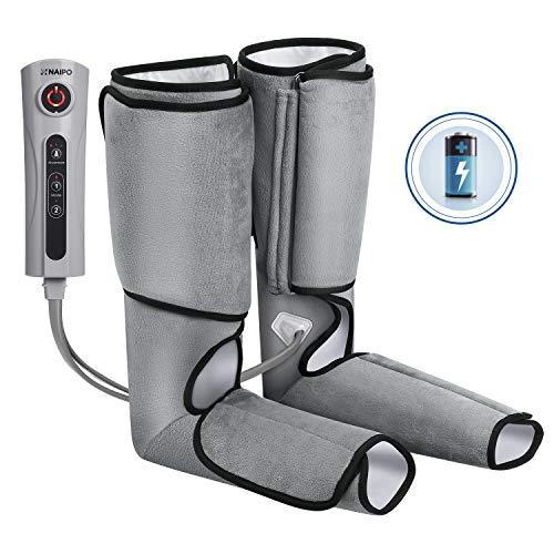 Naipo Massagegerät Beine Waden Massage Fußmassagegerät Luftkompression mit Wiederaufladbare Batterie für Fuß von 3 Intensitätsstufen