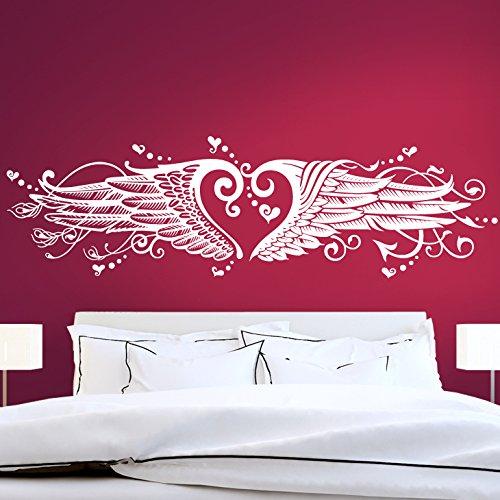 Grandora Wandsticker Herz Engelsflügel I Silbergrau (BxH) 170 x 47 cm I Wandtattoo Schlafzimmer Wandaufkleber Wohnzimmer Aufkleber Liebe Sticker Herz W1008