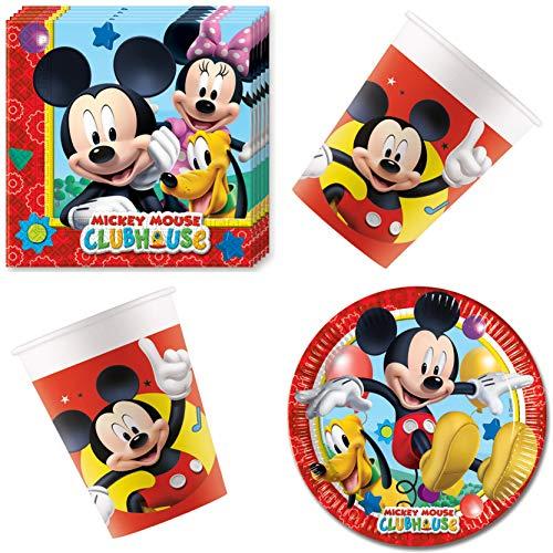 Disney Mickey Mouse - Vajilla de mesa (36 piezas, incluye servilletas, platos, vasos y vasos, para 8 personas)