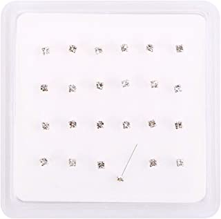 10 Pcs 22G 6mm 925 Sterling Silver 2 mm Stone in 3 mm Round Nose L-Shape Stud
