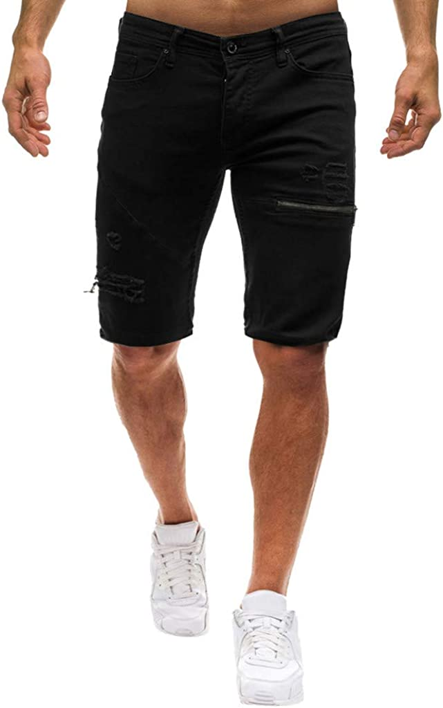 DIOMOR Mens Casual Holes Denim Shorts Zipper Pockets Jeans Classic Straight Button 9 Inch Inseam Relaxed Fit Pants