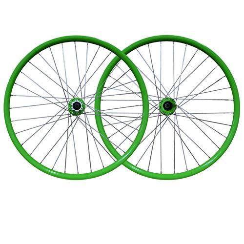 ZNND 26 Pulgadas Ruedas Bicicleta, Rueda Delantera + Trasera MTB Llanta aleación Doble Pared Freno Disco Liberación rápida 32 Hoyos para 7-8-9 velocidades (Color : Green)
