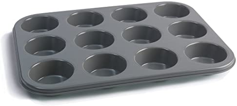 Jamie Oliver Bakeware Range Non-Stick Muffin Tin with 12 Holes, Carbon Steel/Harbour Blue