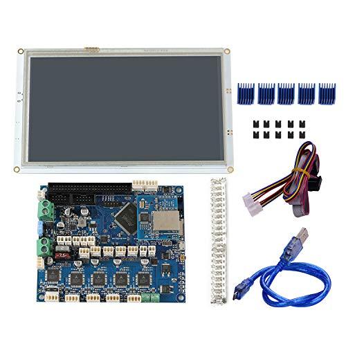 Topuality Imprimante 3D Pièces Clone Duet 2 Ethernet Carte mère électronique avancée 32 bits avec 7 pouces PanelDue 7i Contrôleur d'écran tactile Couleur Paneldue intégré