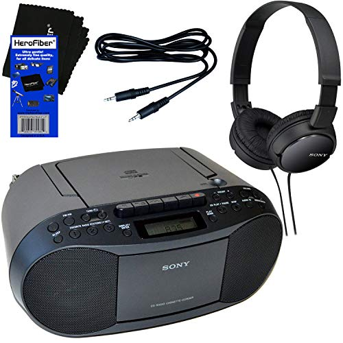 Sony Portable CD Player Boombox with AM FM Radio & Cassette Tape Player + Sony Foldable Wired Stereo Headphones + Auxiliary Cable for Smartphones, MP3 Players & HeroFiber Ultra Gentle Cleaning Cloth