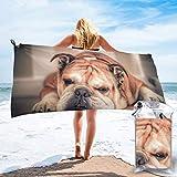 Sunmuchen Toalla de baño Bulldog Inglés, toalla de gimnasio, toalla de playa, uso multiusos para deportes, viajes, súper absorbente, microfibra suave de secado rápido, ligero