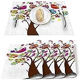 Juego de 4 manteles individuales para el día de Pascua,coloridos huevos,árboles,flores,pájaros,poliéster,resistentes a las manchas,manteles individuales lavables para decoración del hogar,blanco