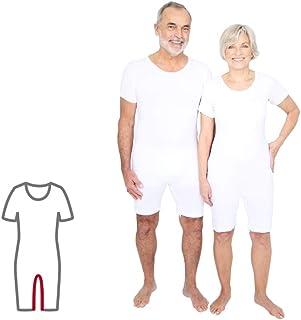 Pflegebody für Erwachsene bei Inkontinenz/Demenz, unisex, kurzarm/kurz, mit Beinreißverschluß, weiß, ActivePro L