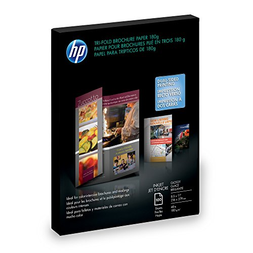 HP C7020A Inkjet Tri-Fold Brochure Paper, 98 Brightness, 48lb, 8-1/2 x 11, White (Pack of 100) DISCONTINUED BY MANUFACTURER DISCONTINUED BY MANUFACTURER