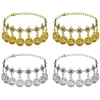 Hicarer 4 Pieces Bohemian Gold Coin Anklet Bohemian Tassel Anklet Adjustable Alloy Foot Hand Jewelry  Vintage Style