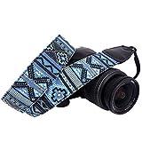 Wolven Pattern Canvas Camera Neck Shoulder Strap Belt Compatible with All DSLR/SLR/Men/Women etc, Blue Stripe Pattern