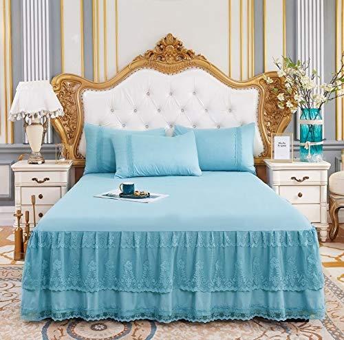 treseds Romantisches Bett-Rock, rutschfestes Spannbetttuch, Tagesdecke, Chiffon-Bettlaken für Hochzeitsdekoration, Bettbezug mit Gummiband (Farbe: 6, Größe: 150 x 200 cm, 3 Stück)
