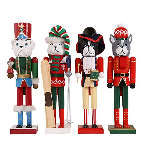 LUYIYI Christmas Dog Nutcracker Set of 4 - Holiday Wooden Dog Nutcracker Soldier Figure Home Decoration, 15' Tall Perfect for Shelves and Tables