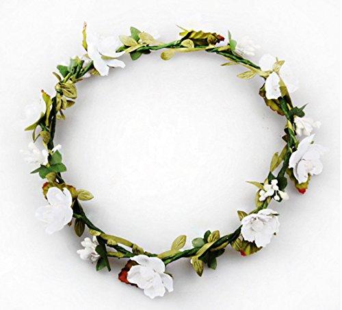 Fletion Schönheitskranz, Damen/Mädchen, mit Blume, 10 verfügbare Farben, für Geburtstage, Hochzeiten, Kinder oder Urlaub, weiß