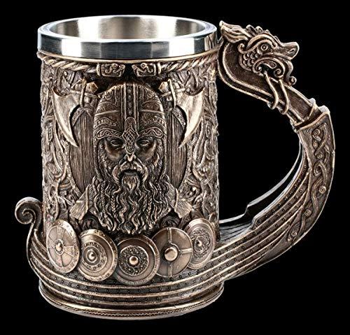 Wikinger Fantasy Bier-Krug - Drakkar bronziert | Humpen, miot Henkel, Deko-Artikel, mit Edelstahleinsatz, H 15 cm