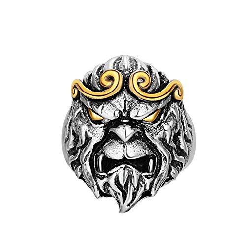 XCFS BEAUTY - Anello da uomo in argento Sterling 925, con dettagli dorati, stile vintage, con testa di scimmia, regolabile