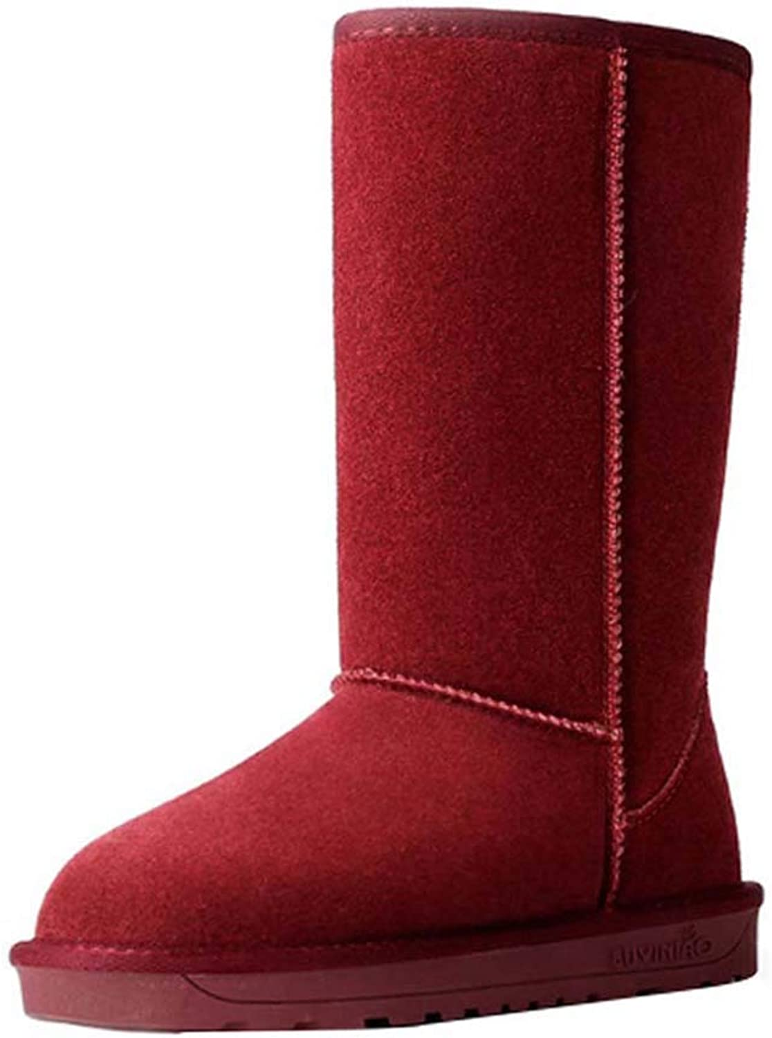 Uirend Women's Classic Suede Leather Tall Snow Boots - Casual Winter Lined Faux Fur Warm Comfortable Snow Boot