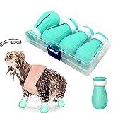 Zapatos Protectores de Pata de Gato, Zapatos Antiarañazos para, protector de patas de gato ajustable, para el cuidado de mascotas, , el baño, el afeitado, el tratamiento de comprobación-verde