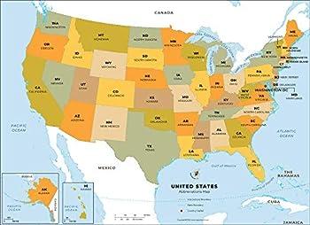 US States Abbreviations Map - Laminated  36  W x 26.12  H