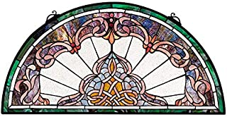 Design Toscano Lady Astor Demi-Lune Stained Glass Window Hanging Panel, 32 Inch, Amethyst Moon