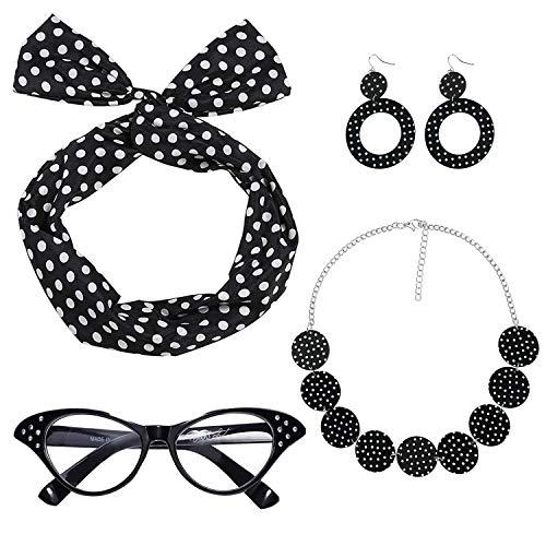 Ouinne 1950s Accesorios de Disfraz, Juego de Accesorios de Disfraz de Mujer Diademas Aretes 50s Pendientes Gafas de Ojo de Gato Collares de Lunares para Fiesta (Negro)