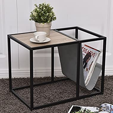 Tangkula Metal End Table Modern Unique Design Home Office Furniture Loft Style Snack Side Table with Magazine Holder and Extra Storage Area