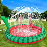 Apfity Splash Pad Sprinkler for Kids, 65' Splash Play Mat for 2 3 4 5 Years Old Boys Girls Summer Outdoor Game Water Toys, Inflatable Baby Swimming Wading Pool for Toddlers Children Kiddie Outside