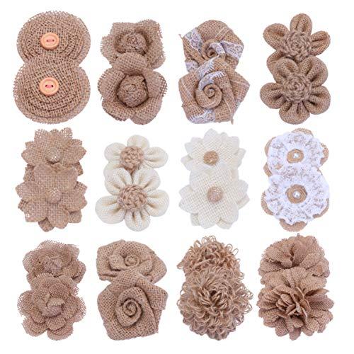 Healifty Fiori di Juta Rose di Tela di Iuta Naturali Fiori di Lino Rustico Fiocchi Jutaflowers Kit Abbellimento Ornamento per Artigianato Fai da Te Decorazione di Cerimonia Nuziale 24 Pz